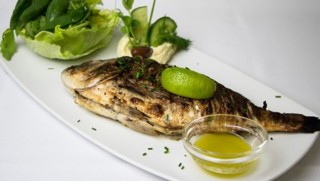 Whole grilled gilthead bream with lado lemono dressing, served with skordalia and fresh green salad.