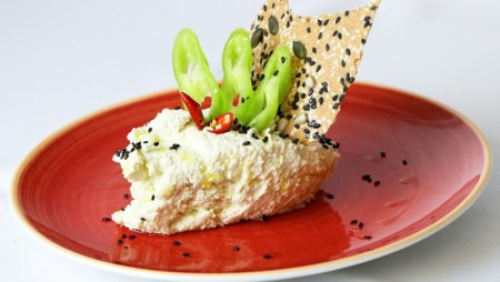 Feta cheese-cream mixed with fresh hot green paprika